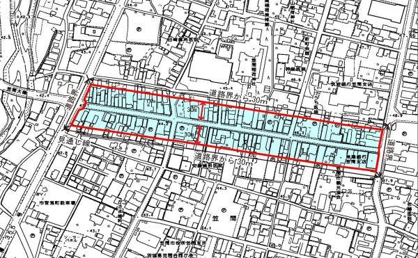 『地区計画区域図(門前通り)』の画像