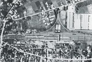『上空から見た友部駅と扇線(6月号)』の画像