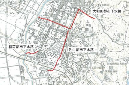 笠間地区都市下水路位置図