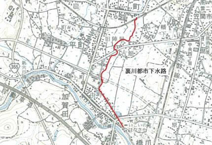 裏川都市下水路位置図